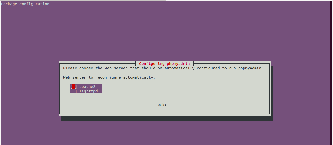 It shows you the first step during the configuration of PHPMyAdmin on your Ubuntu 14.04
