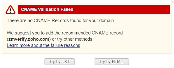 Zoho CNAME Verification Failed