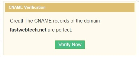 Zoho CNAME Verification Success