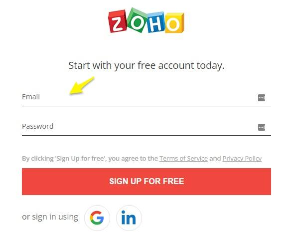 Zoho Mail Signup