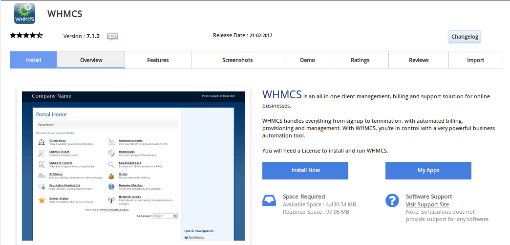 WHMCS Installation dashboard from cpanel softaculous