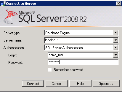 SQL Server Management Studio Interface